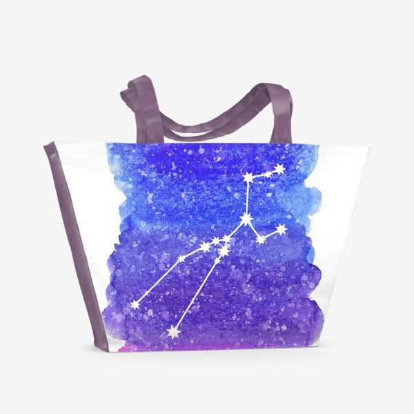 Пляжная сумка «Созвездие Телец. Акварельный фон»