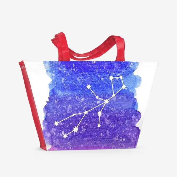 Пляжная сумка «Созвездие Дева. Акварельный фон»