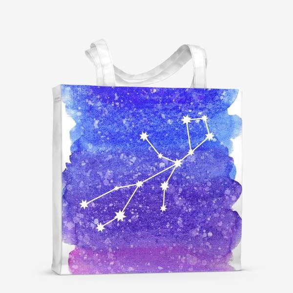 Сумка-шоппер «Созвездие Дева. Акварельный фон»