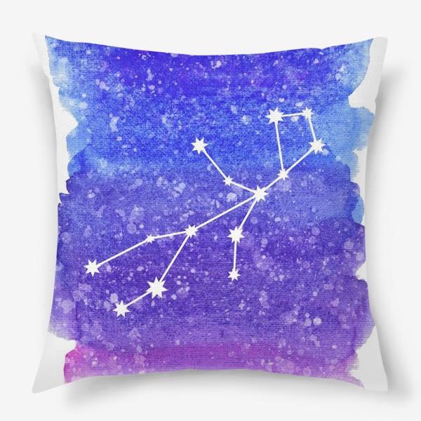 Подушка «Созвездие Дева. Акварельный фон»