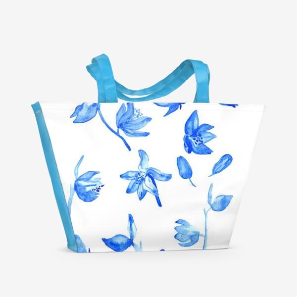 Пляжная сумка «Паттерн Синие Цветы»