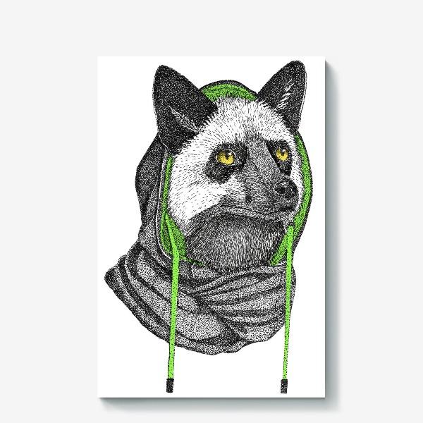 Холст «Лисичка чернобурка в капюшоне»