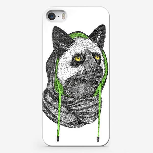 Чехол iPhone «Лисичка чернобурка в капюшоне»
