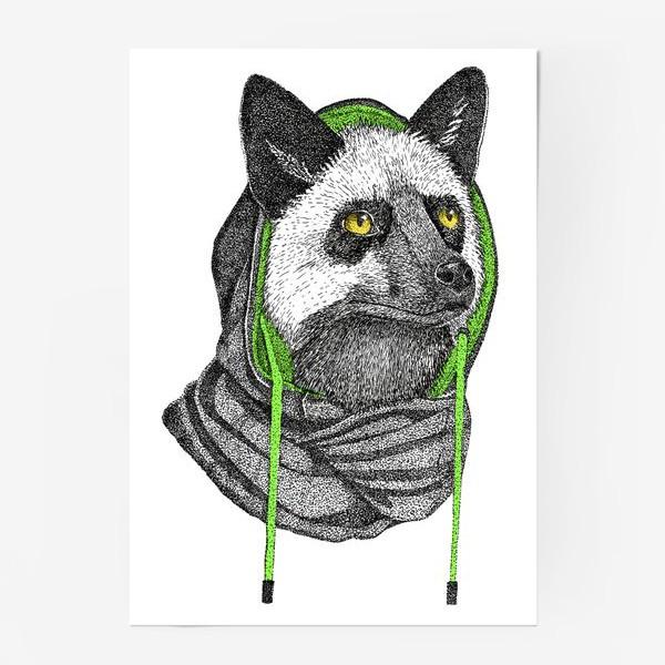 Постер «Лисичка чернобурка в капюшоне»