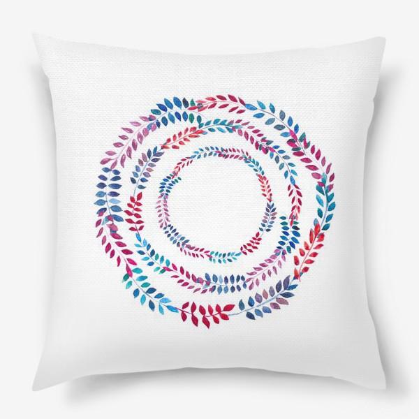 Подушка «Орнамент из разноцветных веточек»