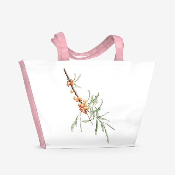 Пляжная сумка «Ветка облепихи ботаническая иллюстрация»