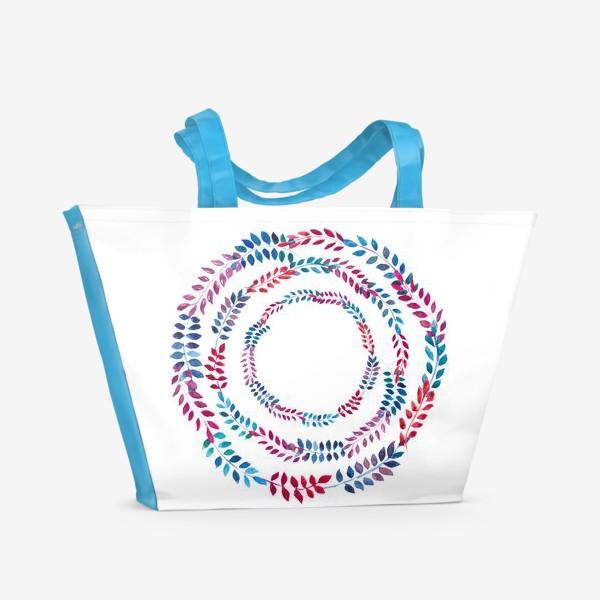 Пляжная сумка «Орнамент из разноцветных веточек»