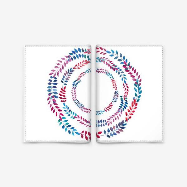 Обложка для паспорта «Орнамент из разноцветных веточек»