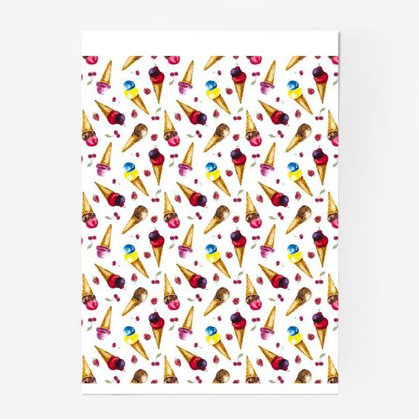 Постер «Фруктовое мороженое с ягодами коллаж»