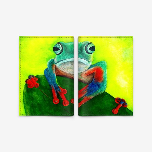 Обложка для паспорта «Яркая сине-оранжевая лягушка сидит на листе»