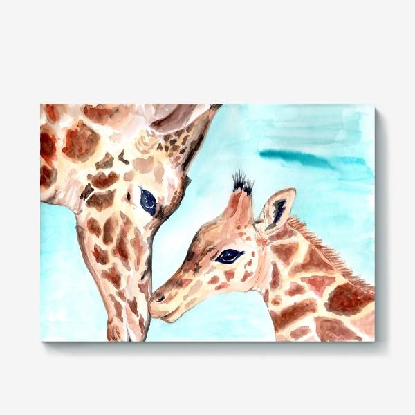 Холст «Жирафы. Вся любовь в одном прикосновении»