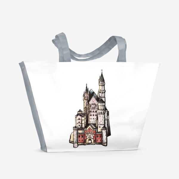 Пляжная сумка «замок Нойшванштайн. Бавария. Германия. Графика»