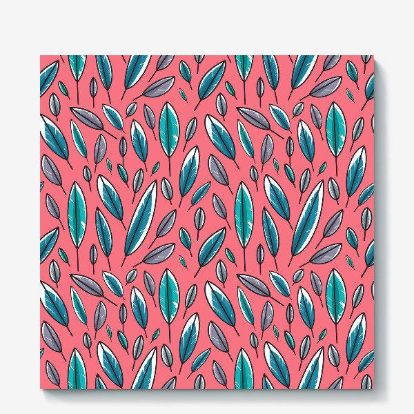Холст «Яркие бирюзовые и синие листья на розовом фоне. Милый паттерн »