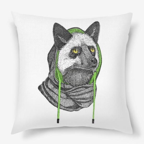 Подушка «Лисичка чернобурка в капюшоне»