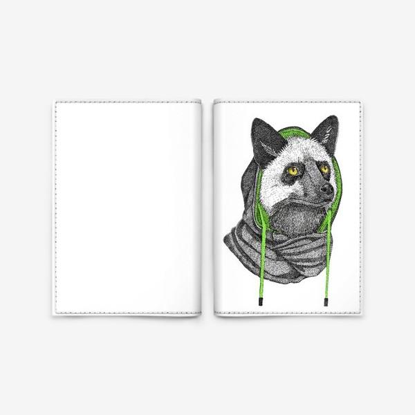 Обложка для паспорта «Лисичка чернобурка в капюшоне»