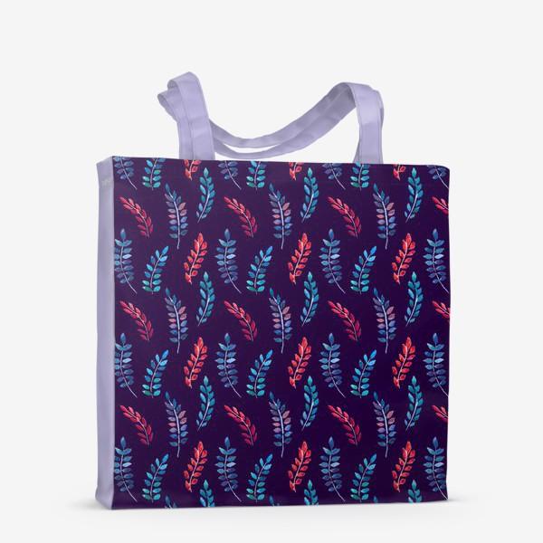 Сумка-шоппер «Разноцветные акварельные веточки на синем фоне»