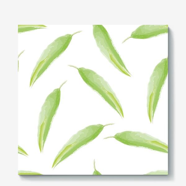 Холст «тропические листья,перья»