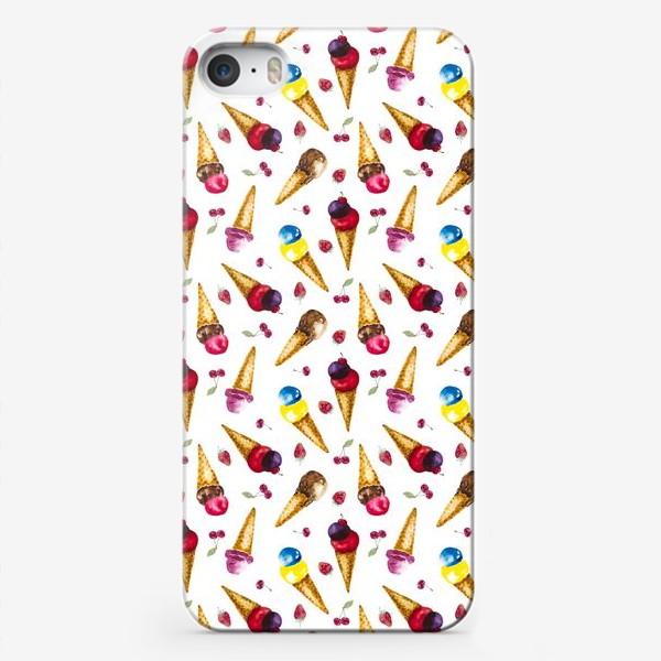 Чехол iPhone «Фруктовое мороженое с ягодами коллаж»