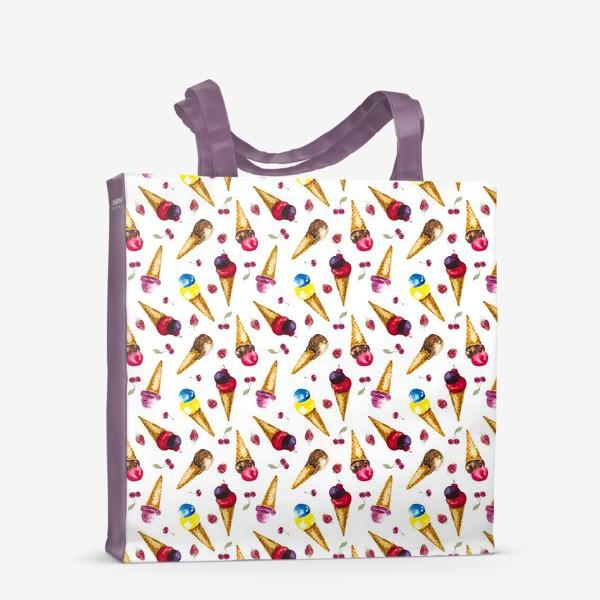 Сумка-шоппер «Фруктовое мороженое с ягодами коллаж»