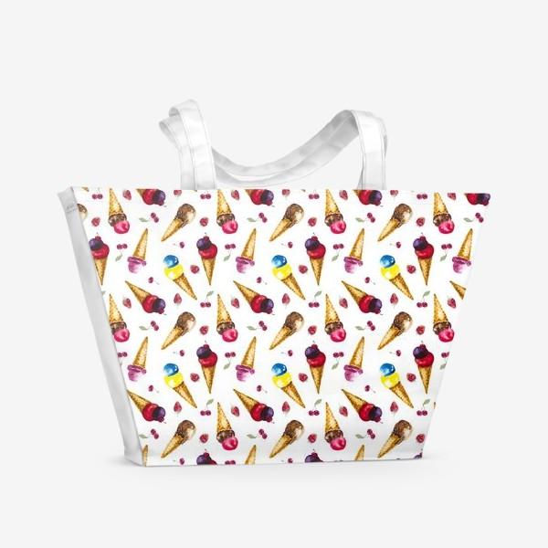 Пляжная сумка «Фруктовое мороженое с ягодами коллаж»