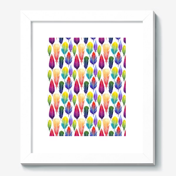 Картина «Акварельные Перья. Узор из перышек цветов радуги.»