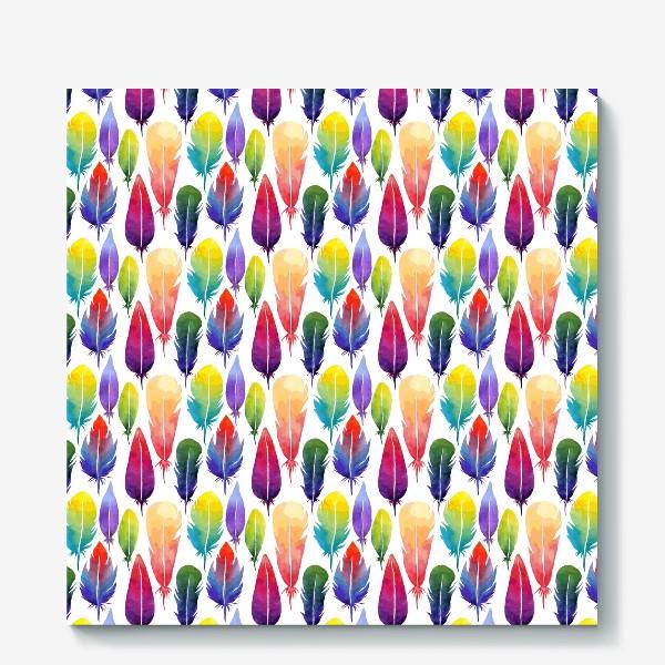 Холст «Акварельные Перья. Узор из перышек цветов радуги.»