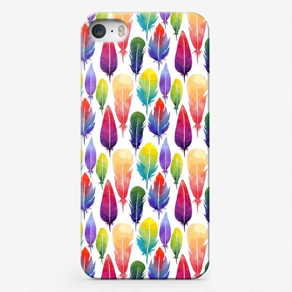 Чехол iPhone «Акварельные Перья. Узор из перышек цветов радуги.»