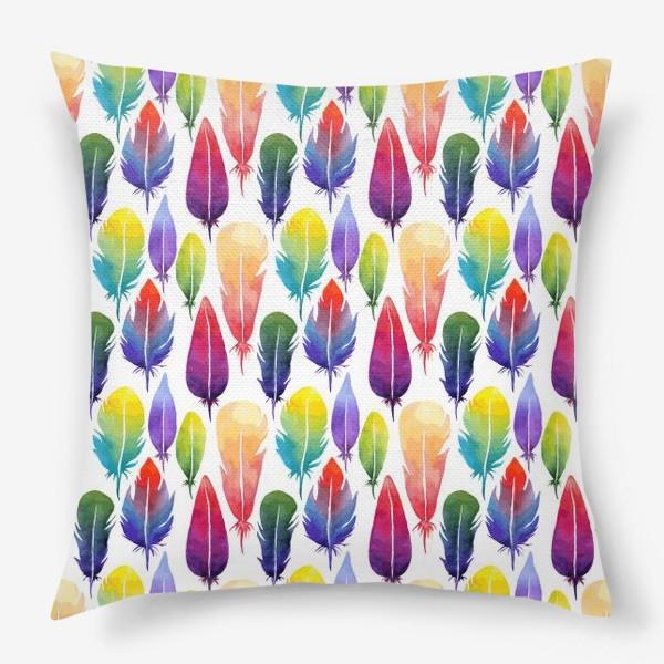 Подушка «Акварельные Перья. Узор из перышек цветов радуги.»