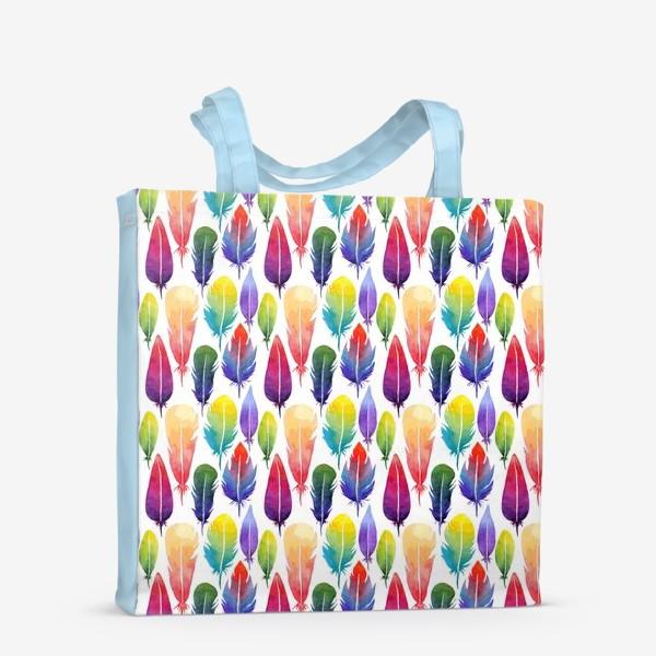 Сумка-шоппер «Акварельные Перья. Узор из перышек цветов радуги.»