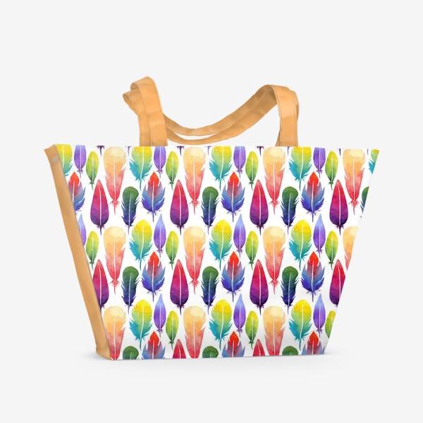 Пляжная сумка «Акварельные Перья. Узор из перышек цветов радуги.»
