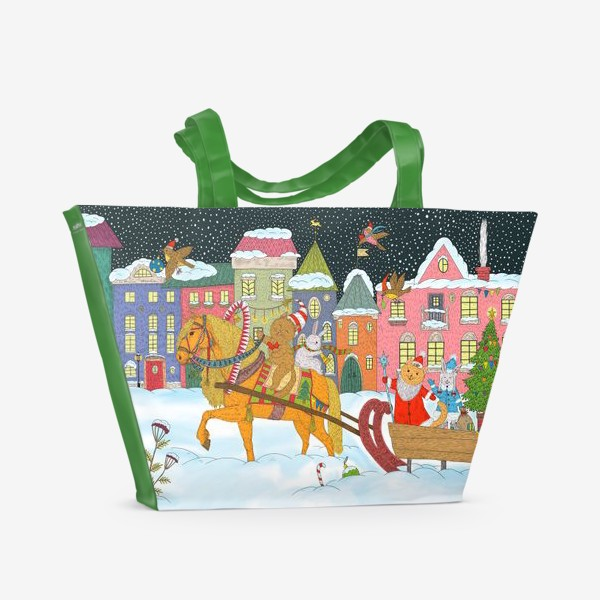 Пляжная сумка «Коты и Новый год»