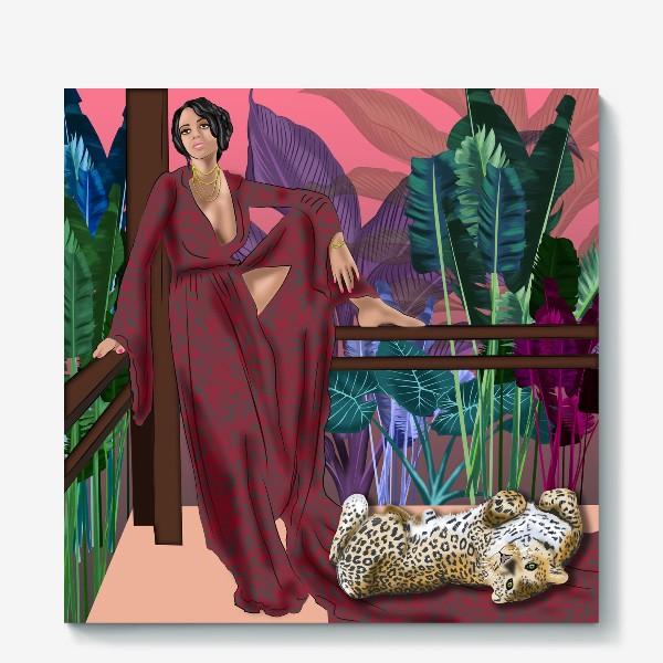 Холст «Креолка с ягуаром »