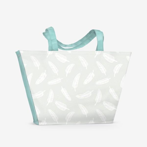 Пляжная сумка «Перья и точки»
