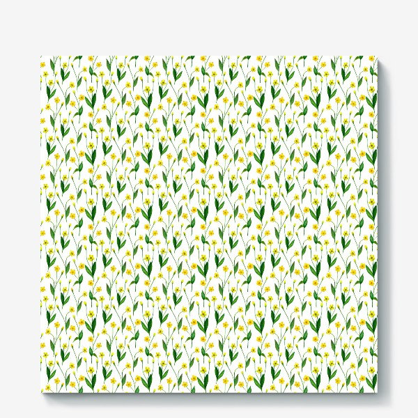 Холст «Паттерн милые жёлтые акварельные полевые цветы, жёлтые лютики»