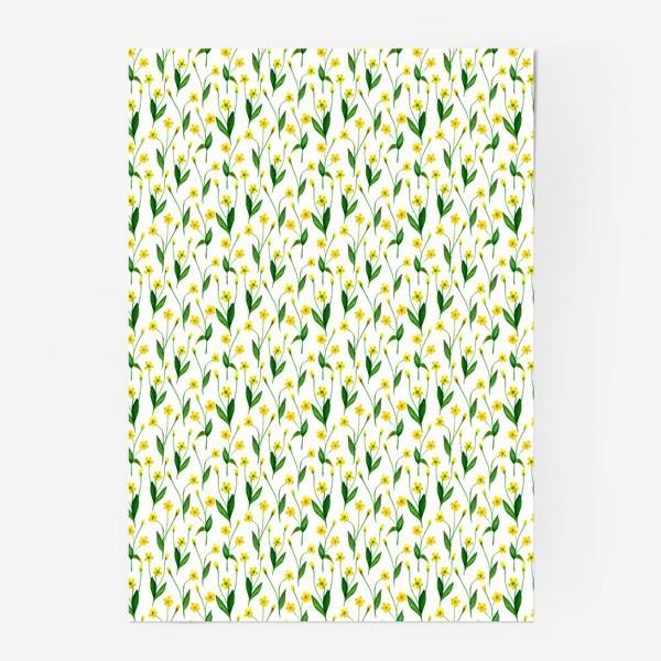 Постер «Паттерн милые жёлтые акварельные полевые цветы, жёлтые лютики»