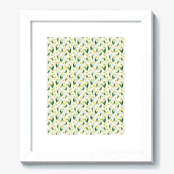 Картина «Паттерн милые жёлтые акварельные полевые цветы, жёлтые лютики»