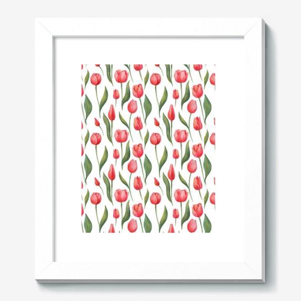 Картина «Красные акварельные тюльпаны»