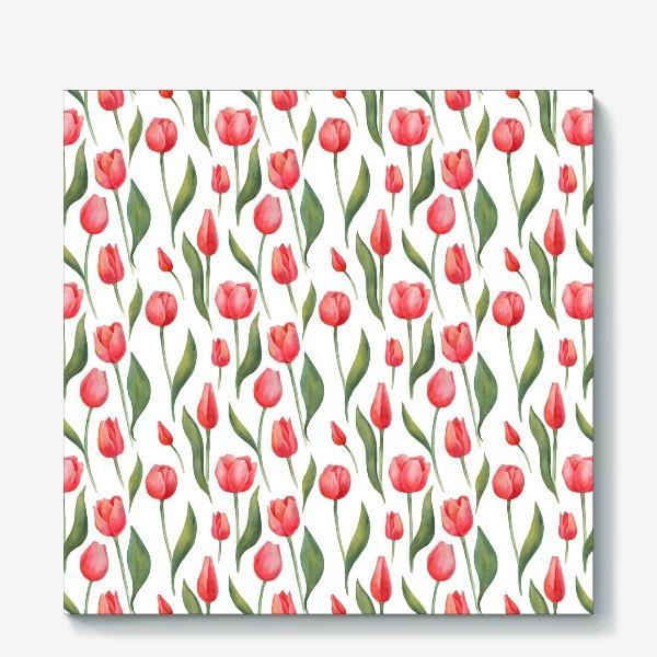 Холст «Красные акварельные тюльпаны»