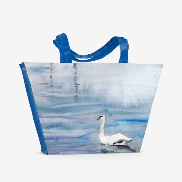 Пляжная сумка «Лебедь и яхты»