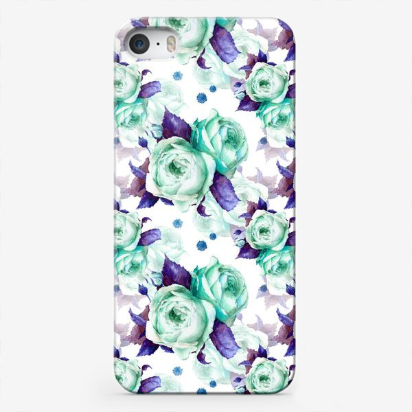"Чехол iPhone «паттерн ""голубые розы""»"