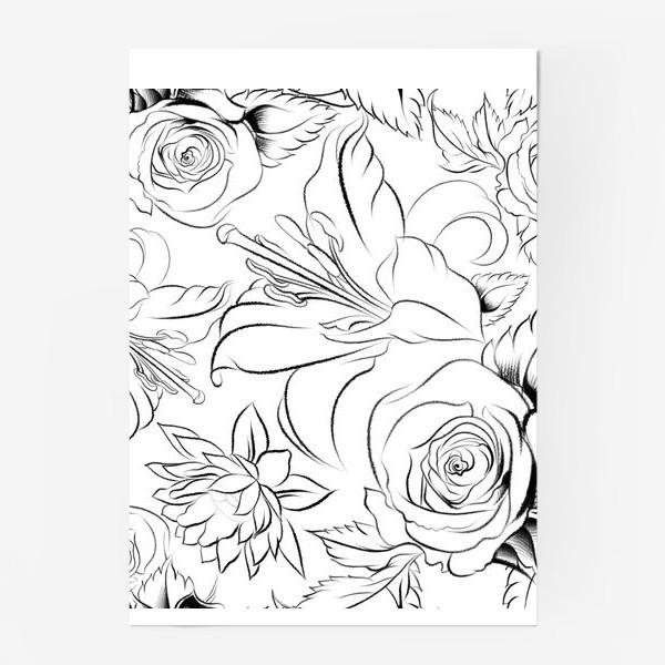 Постер «Бесшовный паттерн с цветами»