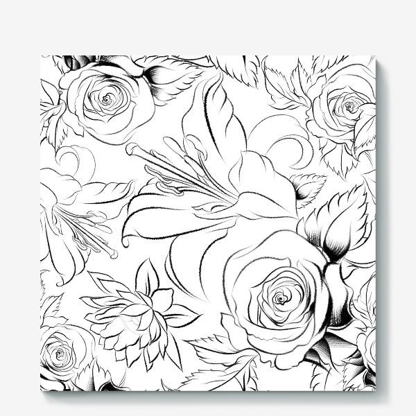 Холст «Бесшовный паттерн с цветами»