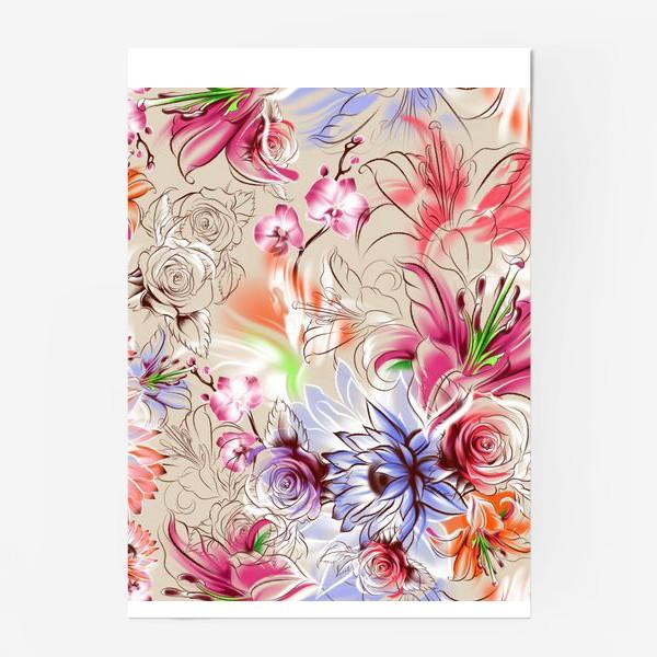 Постер «Бесшовный паттерн с лилиями, орхидеями и розами»