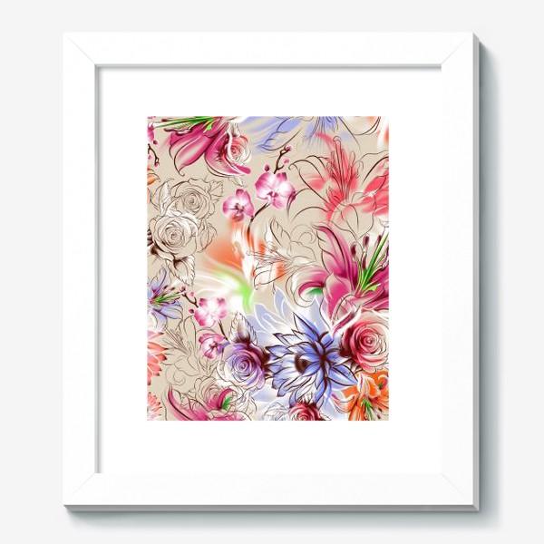 Картина «Бесшовный паттерн с лилиями, орхидеями и розами»