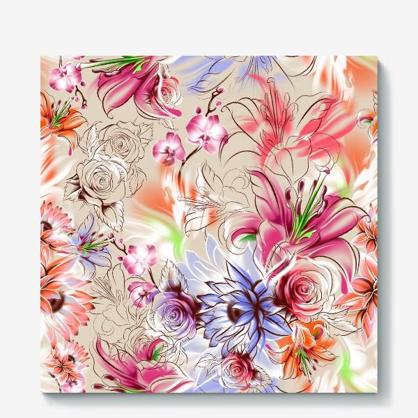 Холст «Бесшовный паттерн с лилиями, орхидеями и розами»