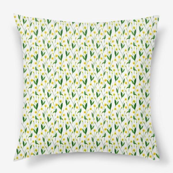 Подушка «Паттерн милые жёлтые акварельные полевые цветы, жёлтые лютики»