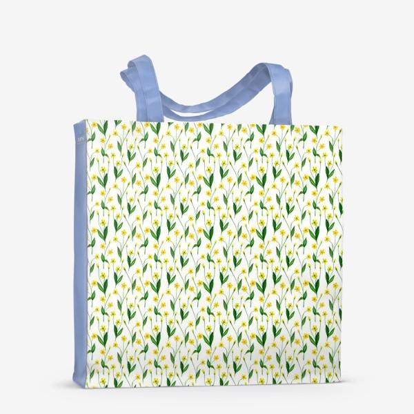 Сумка-шоппер «Паттерн милые жёлтые акварельные полевые цветы, жёлтые лютики»