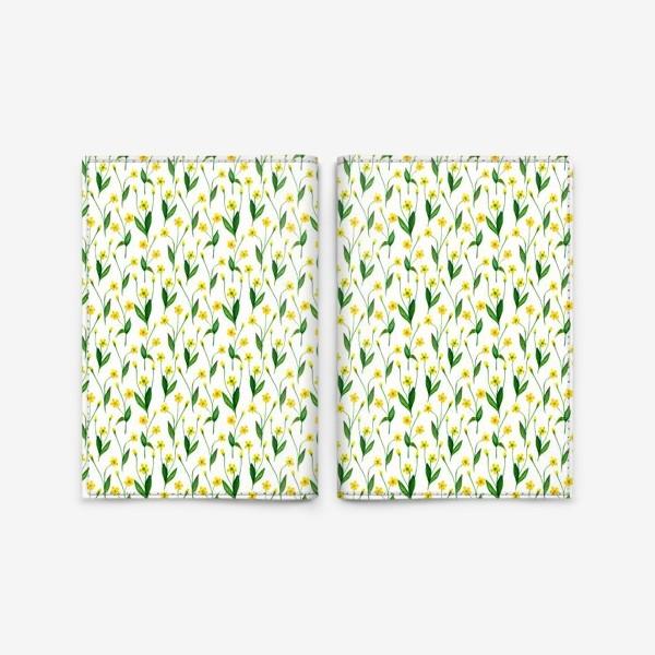 Обложка для паспорта «Паттерн милые жёлтые акварельные полевые цветы, жёлтые лютики»