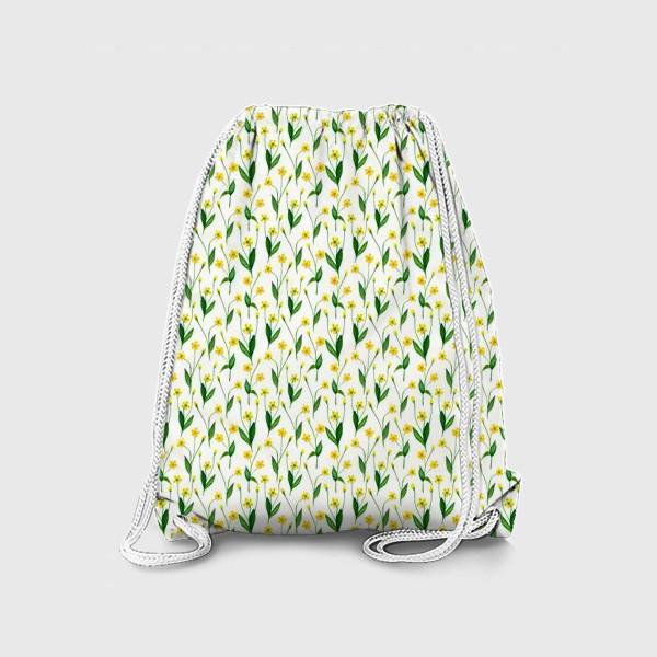 Рюкзак «Паттерн милые жёлтые акварельные полевые цветы, жёлтые лютики»