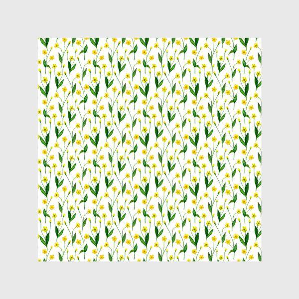 Шторы «Паттерн милые жёлтые акварельные полевые цветы, жёлтые лютики»